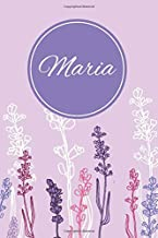 Maria: Personalized Customized Journal Notebook for Girls Named Maria With Monogram, Purple Lavender Flowers Notebook Journal