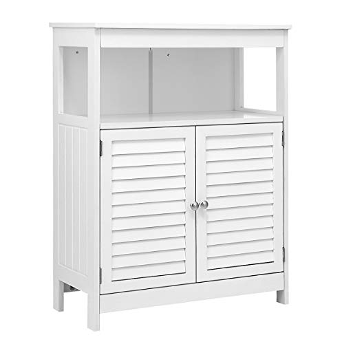 KINGSO Bathroom Floor Cabinet, Free Standing Bathroom Storage Cabinet with Double Shutter Door and Adjustable Shelf for Home Office-White