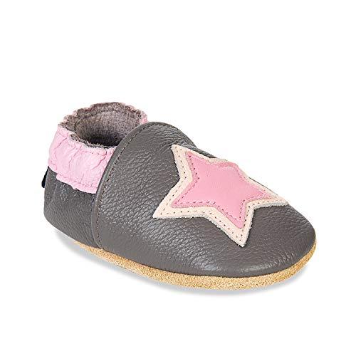 HMIYA Weiche Leder Krabbelschuhe Babyschuhe Lauflernschuhe mit Wildledersohlen für Jungen und Mädchen(12-18 Monate,Hellgrau)
