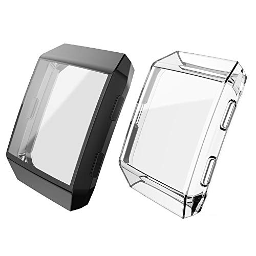 Keweni For Fitbit Ionic Case, (paquete de 2) TPU All-Around Full Front Screen Protective Case para Fitbit Ionic Smart Watch (Claro/negro)