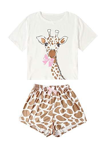 DIDK Damen Pyjama Set Avocad Top und Polka Dot Short Hose Zweiteiliger Schlafanzug Weiß-Braun XS