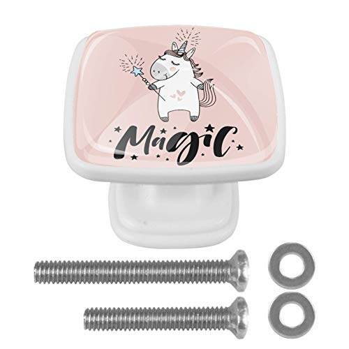 Z&Q Schrank Hardware Knöpfe Unicorn Magic Pink Schrankknöpfe und Griffe Quadrat Kristallglas-Badezimmerknöpfe für Kinder (4 Stück) 3x2.1x2 cm