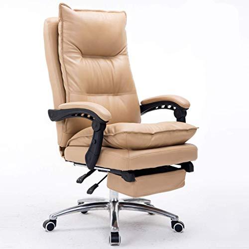 WJSWYZ Stühle Sofas Leder Computer Stuhl Home Office Stuhl Büro Chef Stuhl Wohnzimmer Schlafzimmer Liege Massage Stuhl Schöner Computer Stuhl Bequemer Stuhl (100% Rindsleder Material) (Farbe: Beige)