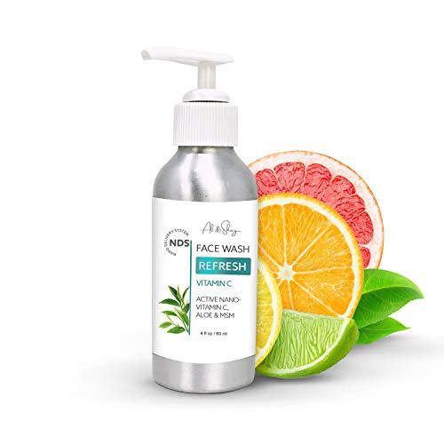 ALI & SHAY Nano Vitamin C Face Wash Gel - 100% Natural Anti Aging & Exfoliating Facial Cleanser w/ Nanotechnology for Oily, Acne Prone, Dry & Sensitive Skin - Daily Skincare Moisturizer w/ Aloe, Vit E & MSM - 4oz