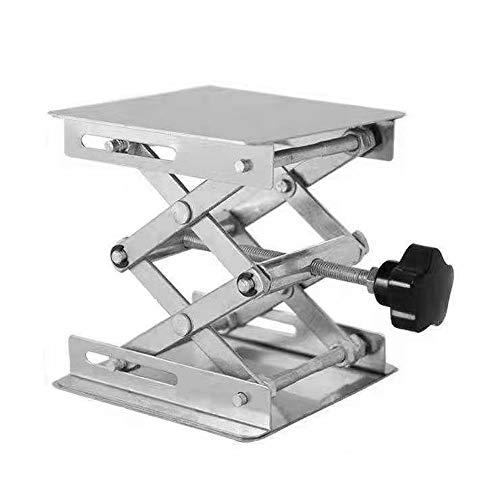 Lifemaison Labor Hebebühne Hubtische Lab Lift Table Aluminium Labor Schere Jacks für Chemische Instrument Unterstützung Hebe(Silber,100x100 mm)