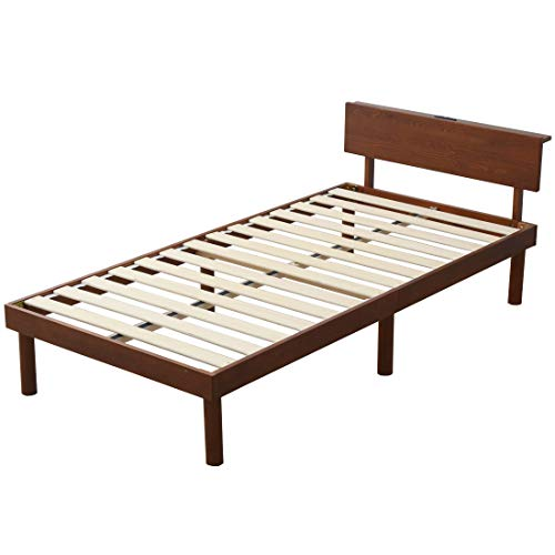 タンスのゲン ベッド シングル すのこベッド 宮棚 2口コンセント付き ベッドフレーム 耐荷重200kg 天然木 ベッド下収納 シングルベッド ブラウン 49600785 01(74869)