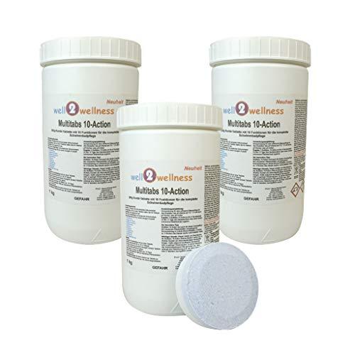 well2wellness Chlortabletten Multitabs 10-Action 200g mit 10 Funktionen 3,0 kg (3 x 1,0 kg)