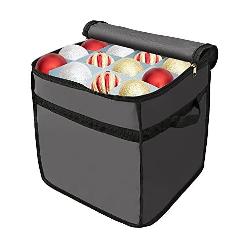 Rylod Caja de almacenamiento de adornos navideños con divisores, capacidad para hasta 64 adornos, divisor de PVC interior 600D/ 32 x 32 x 32 cm