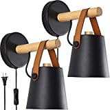 Wall Lamps for Bedroom Set of 2 Indoor Plug in Wall Sconces with Switch and U.S. Plug Wire Black Modern Wooden Wall Lighting Fixture Free Bulbs E26 Base for Nightstand or Farmhouse Aisle Corridor