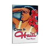 KDIK Vintage-Reise-Poster Frau von Haiti auf Leinwand,