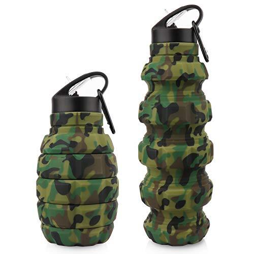 Botella de agua de viaje plegable de 18 onzas, botellas de agua plegables de silicona sin BPA reutilizables para gimnasio, camping, senderismo, (Camuflaje verde militar)