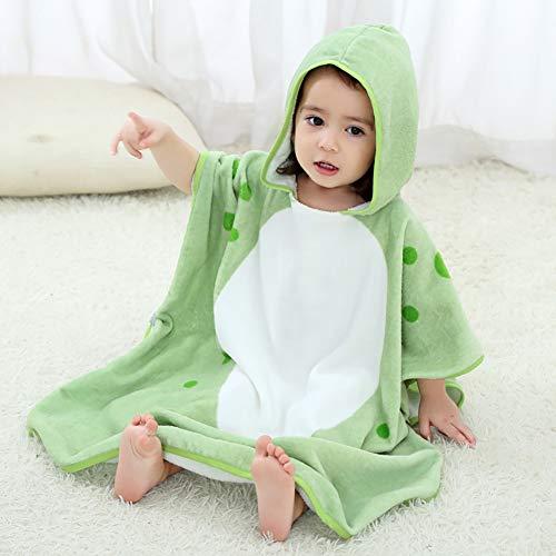 LRQY Serviette à Capuchon Sorties De Bain Animaux De Dessin Animé, Coton Doux Ultra-absorbante Poncho Plage Natation Manteau,pour Bébé De 0 à 6 Ans,Green
