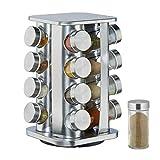 Relaxdays Gewürzkarussell mit 16 Gewürzgläsern auf 4 Ebenen, 360° drehbar, Gewürzdosen zum Streuen, Edelstahl, Silber, Stahl
