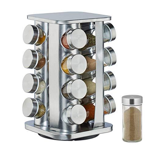 Relaxdays Gewürzkarussell mit 16 Gewürzgläsern auf 4 Ebenen, 360° drehbar, Gewürzdosen zum Streuen, Edelstahl, silber