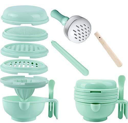 WINGOFFLY 9 in 1 Food Masher Maker Portable Baby Feeder Food Processor Smasher Serve Bowl Vegetables Fruit Ricer Grinder