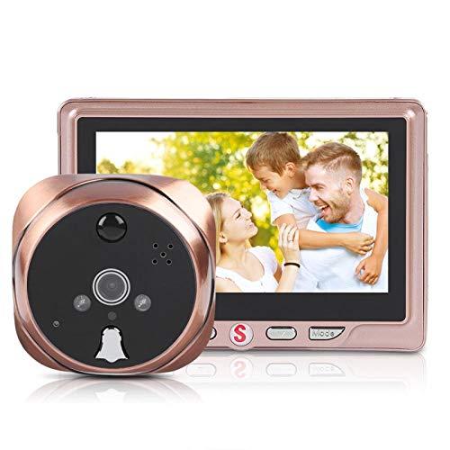 Garsent Timbre de Video Digital con Mirilla, Visor electrónico de Puerta, Monitor de cámara de Seguridad LCD de 4.3 Pulgadas con Sensor de Movimiento, grabación de Video en ángulo de 120 °(3000MA)
