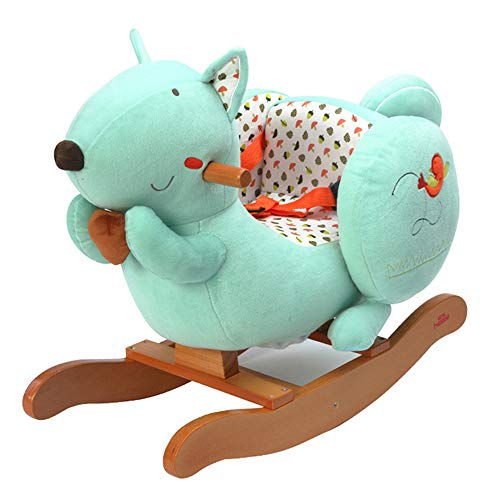 Baby Rocking Horse, Kids Ride on Toy Wooden Riding Horse for 1-3 Years Old Boy Girl Plush Stuffed Animal Rocker Chair