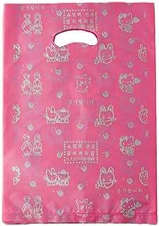 حقائب تسوق من البلاستيك الوردي اللامع للسلع حقائب تغليف هدايا مع مقابض، 8x12.5 بوصة، 22x12.5 بوصة، 100 قطعة TPAK21003