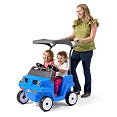 Two toddlers can ride together in the Side-By-Side Push Around SUV by Step2! Realistic off-roading SUV design features headlight and front grill detailing. Wide, easy-grip handle and front swivel wheels makes steering easy. Canopy is easy to disassem...
