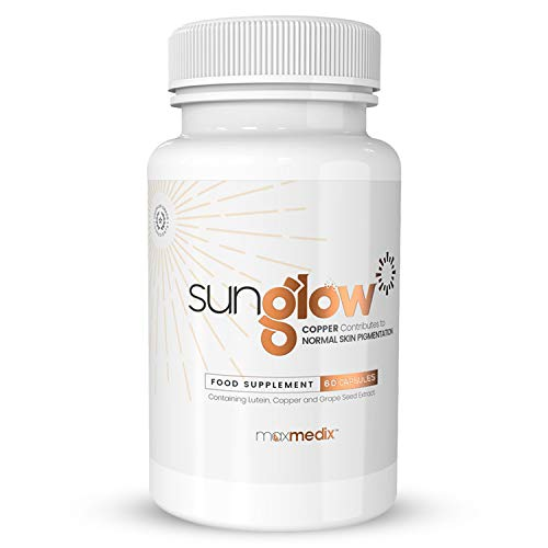 Sunglow | 60 Tanning Accelerator Capsules | with L-tyrosine, Vitamin E, Copper, Grape Seed Extract & Lutein | Achieve The Perfect Natural Sun Tan with Our Best Optimizer | by Maxmedix