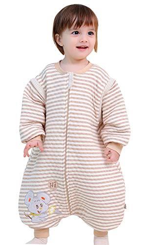 Baby Schläfsack Winter Hund mit Füßen Baumwolle Junge Mädchen ganzjahres Schlafanzug Neugeborene Pyjama/Overall/Strampler Braun