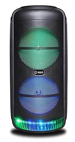 ELCO Altavoz Bluetooth, 2x8 con 60W y con Efectos luz LED Multicolor, micrófono Incluido