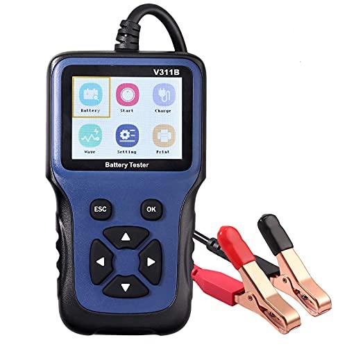 AUTOUTLET Probador de Carga de Batería, Comprobador Digital de Batería 12V 100-2000 CCA Analizador de Batería de Automóvil Herramienta de Prueba de Batería para Camión Automóvil Barco Motocicl