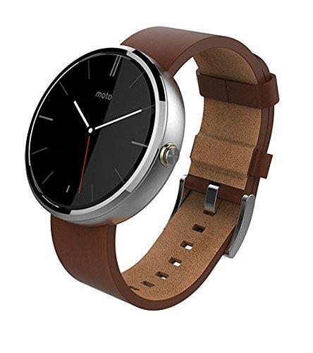 Motorola Moto 360 Androidwear Smartwatch 1st Generation - 46mm (Certified Refurbished) (Cognac Leather)
