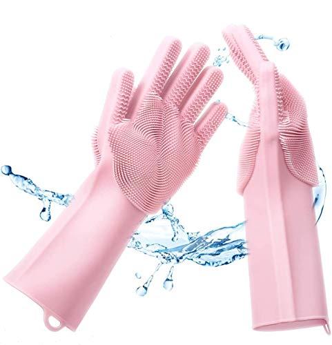Premium Silikon Reinigungs Handschuhe mit Bürste zum Geschirr spülen (Rosa) - Noppen Oberfläche zur optimalen Reinigung von Geschirr und Küchengeräten