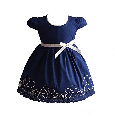 Cinda Robe de Coton d'été de bébé Filles Bleu foncé 9-12 Mois