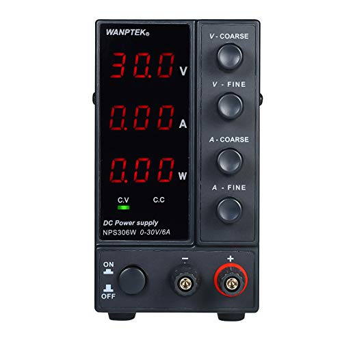 KKmoon 0-30V 0-6A Fuente de alimentación de CC de conmutación con Pantalla de 3 dígitos LED de alta precisión fuente de alimentación ajustable AC 115V / 230V 50 / 60Hz
