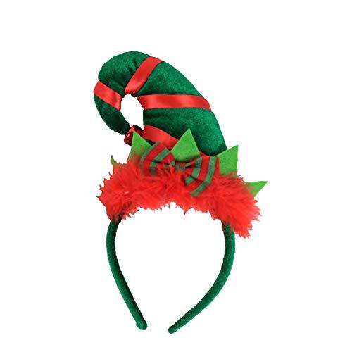 DOMIRE 2 Stück Weihnachtshaar-Band-elf Spitzer Hut Mütze Stirnband Mit Feder Bowknot Nette Stirnband Für Kinder Erwachsene Haarband Dekoration Ornamente Party Supplies Style 2