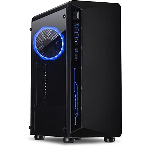 Inter-Tech C-3 Saphir ohne PSU 2X USB 2.0 1x USB 3.0 1x 120mm RGB-Fan serienmaessig RGB in der Frontblende Tempered Glas Seitenteil, 88881300