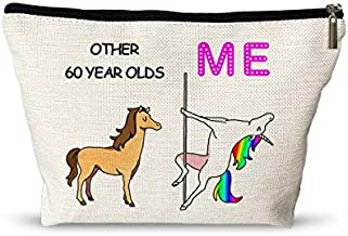 0ther 60 Years Old Me Unicorn Makeup Bag - Funny 60TH Birthday Gifts for Women Cosmetic Bags - Retirement/Commemorative/Christmas Gifts Makeup Travel Case for Her, Friend, Mom, Sister, Wife, Coworker