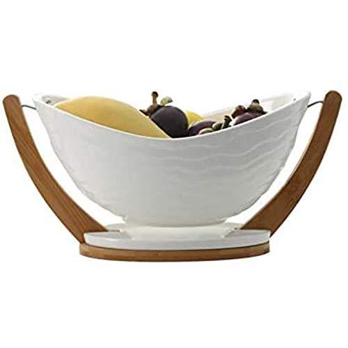 qiuqiu Frutero, Puesto De Frutas De Madera, Canasta De Frutas, Plato De Cerámica para Frutas, Canasta De Drenaje De La Sala De Estar, Frutero Grande para El Hogar-White