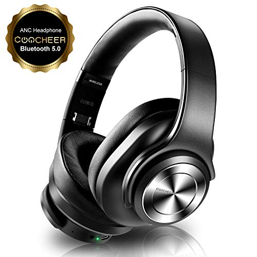 Bluetooth Active Noise Cancelling Kopfhörer, Wireless Headset Over Ear mit Mikrofon und Dual 40mm HD Sprecher, HiFi, Deep Bass, Typ-C Schnellladen, 30H Spielzeit, für Phone, PC