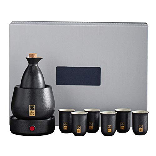 AMYZ Juego de Sake y Tazas con Calentador japonés Juego de Tazas de Sake de 9 Piezas con Estufas Calientes,para Navidad,cumpleaños y Aniversarios,Negro,Almohadilla térmica eléctrica