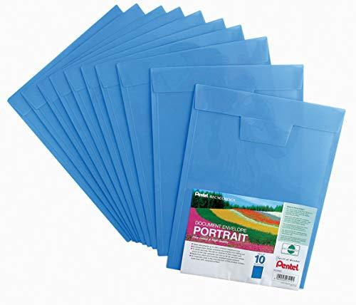 Pentel Documents enveloppe Portrait Bleu Lot de 10 dossiers, fichiers) pour les Documents A4