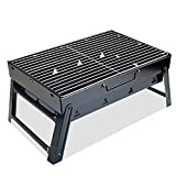 Charcoal Grill Stainless Steel Barbecue Grill Heavy Duty Portable Folding Portable BBQ Grill Set Small BBQ Tool Kits for Camping Outdoor Cooking Picnics Beach Hiking Party (Small)