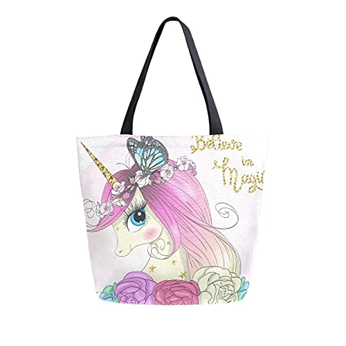 AHYLCL Beautiful Butterfly Animal Unicorn Tote Bag Canvas Shoulder Bag Reusable Large Multipurpose Use Handbag for Work School Shopping Outdoor