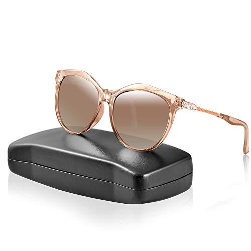 IPOW Gafas de Sol Polarizadas para Mujer con Diseño de Diamante, Gafas de Moda Protección UV 400 para Conducir y Deportes al Aire Libre