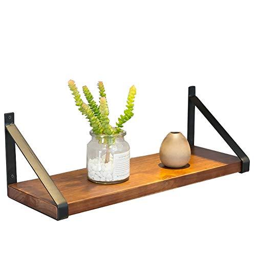 ZYFA Wall Mounted Shelf, Retro Houten Zwevende plank, Modern Huis, Hout Opslag Plank IJzeren beugel
