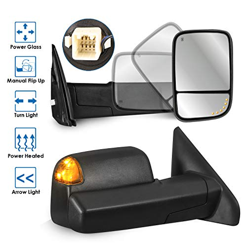 MOSTPLUS Power Heated Towing Mirrors for 02-09 Ram Flip Up Left Right Pair w/Arrow Light & Turn Signal Light (Set of 2)