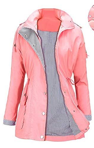 Triamisu Sports de Plein air Vélo Imperméable À Capuche Hommes Femmes Vélo Équitation Veste De Pluie Imperméable Coupe-Vent Imperméable À Glissière Imperméable - Orange Rose XL (en Stock)
