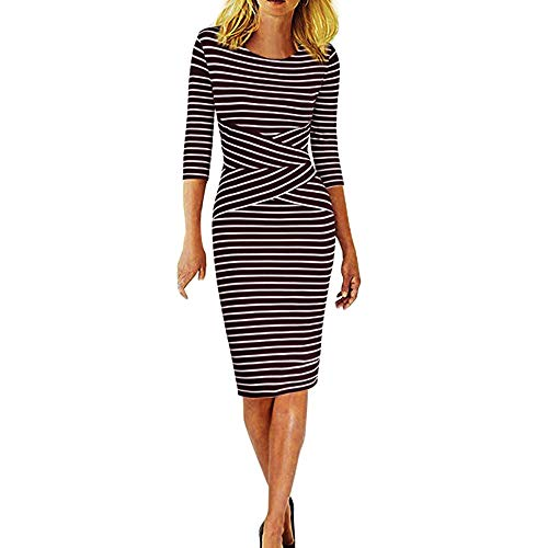 MRULIC Arbeitsmode Büro Kleid Damen Bodycon Kurzarm Party Dress Business Style Bleistift Minikleid Gestreift Slim-Fit Kleider