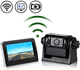 EWAY WiFi Wireless Magnetic Trailer Hitch Backup Rear View Camera & 4.3 inch LCD Monitor Safety Battery Powered for Gooseneck Horse Boat Travel Trailer/Fifth Wheels/RV/Camper Car, Removable Guideline