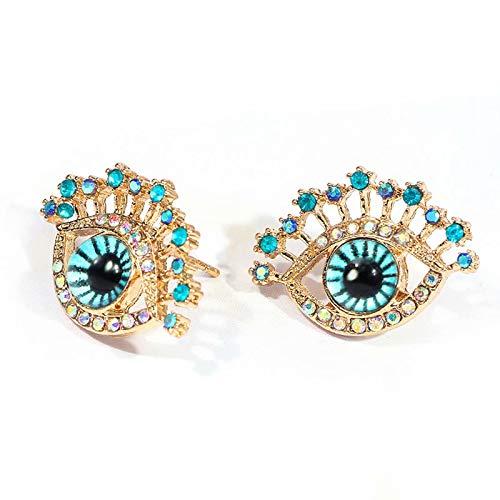 CHENYUXIA Pendientes de ojos azules para mujer, tendencia de moda con diamantes parpadeantes
