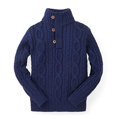 Hope & Henry Boys' Long Sleeve Mock Neck Cable Sweater with Button Placket Navy