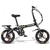 JHNEA Plegable Bicicleta, 16 Pulgadas 7 velocidades Marco de Acero al Carbono Bicicleta Plegable Street con Estante Sillin Confort y Defensa Unisex Adulto,Black-B