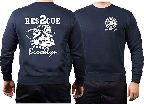 Sweat-shirt Rescue 2 - Avec bouledogue Fire Fighting Bulldog - Brooklyn - Pompiers New York